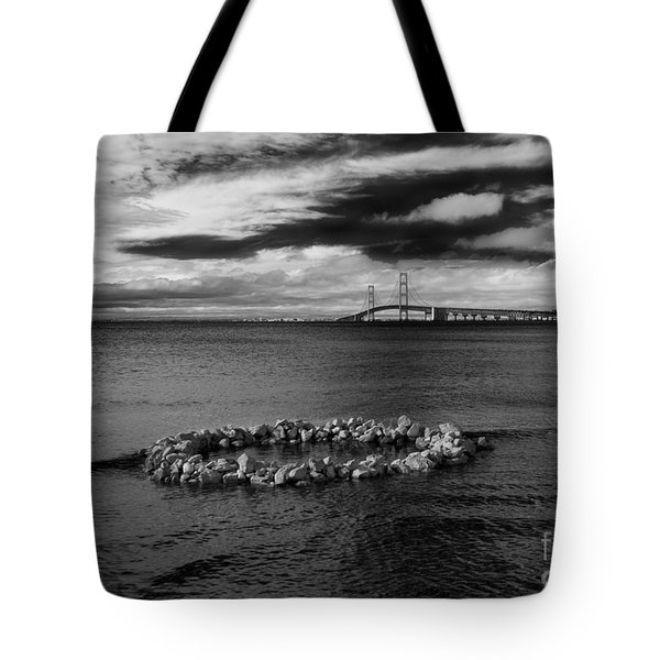 Mackinac Bridge - Infrared 03 Tote Bag