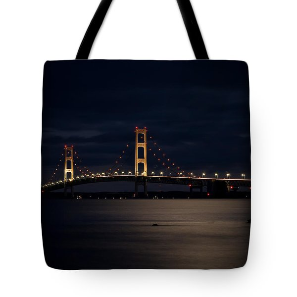 Mackinac Bridge At Night Tote Bag