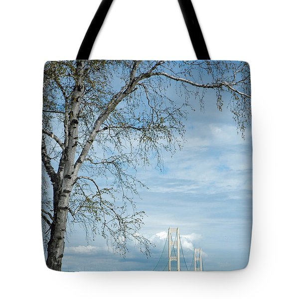Tote Bag featuring the photograph Mackinac Bridge Birch by LeeAnn McLaneGoetz McLaneGoetzStudioLLCcom