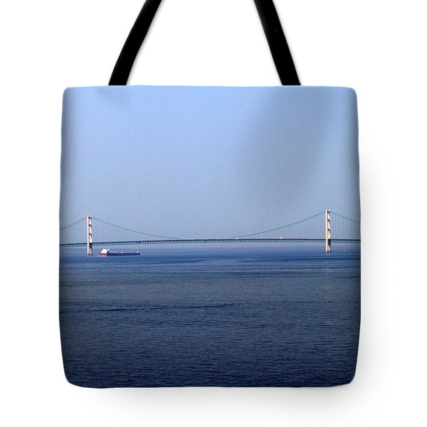 Mackinac Bridge Tote Bag by Farol Tomson
