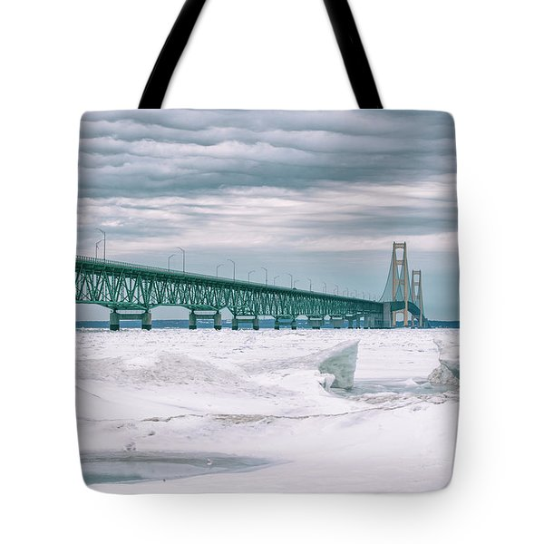 Tote Bag featuring the photograph Mackinac Bridge In Winter During Day by John McGraw