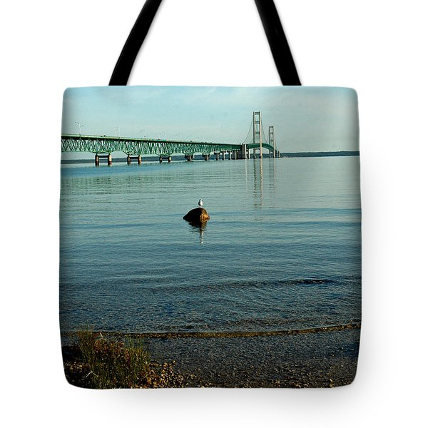Tote Bag featuring the photograph Mackinac Bridge Michigan by LeeAnn McLaneGoetz McLaneGoetzStudioLLCcom