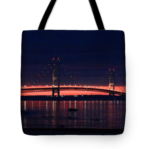 Mackinac Bridge On A June Evening Tote Bag