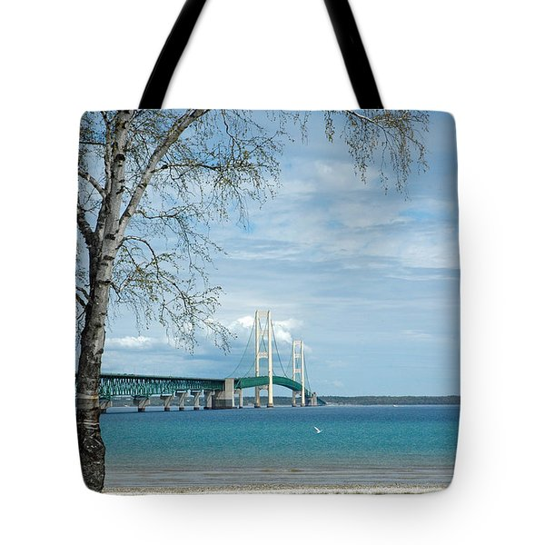 Tote Bag featuring the photograph Mackinac Bridge Park by LeeAnn McLaneGoetz McLaneGoetzStudioLLCcom