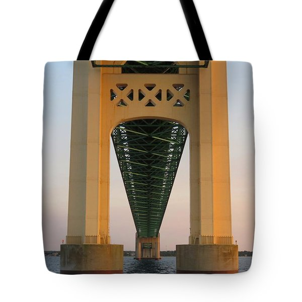 Mackinac Bridge Tower At Sunset Tote Bag