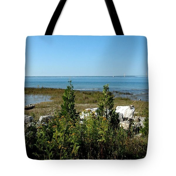Tote Bag featuring the photograph Mackinac Island View Of Bridge by LeeAnn McLaneGoetz McLaneGoetzStudioLLCcom