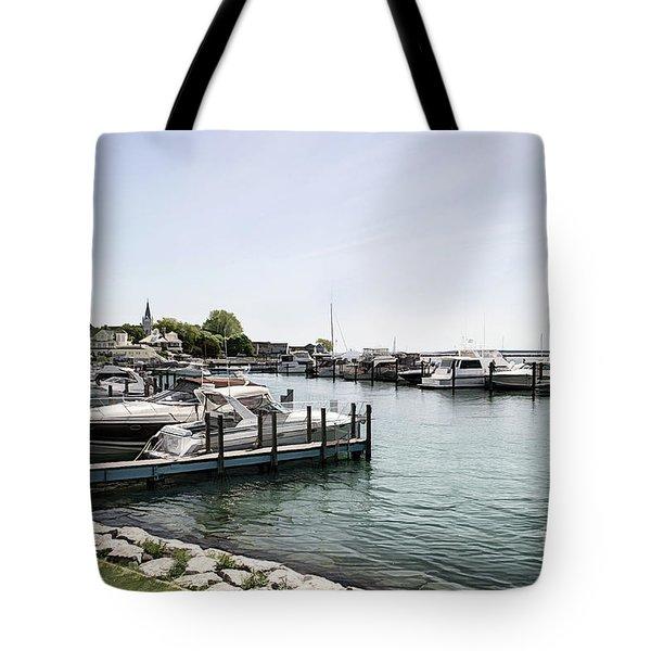 Mackinac Marina Art Tote Bag