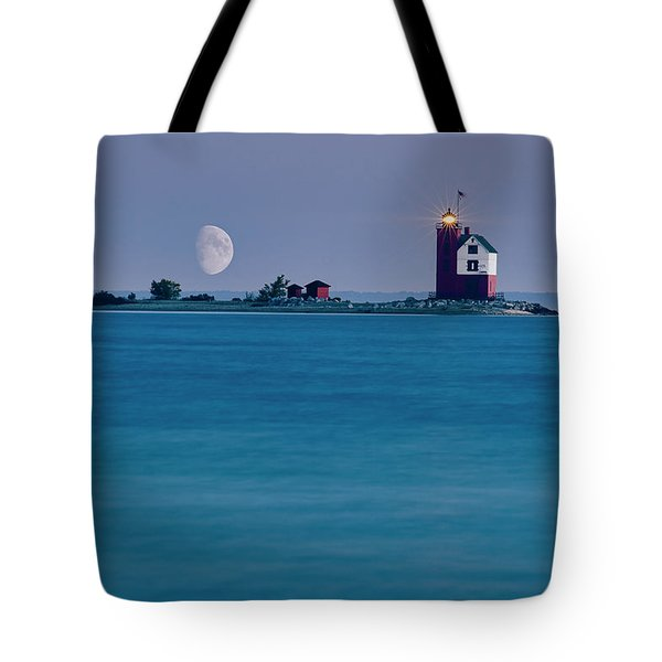 Tote Bag featuring the photograph Mackinac Moon by Dan McGeorge