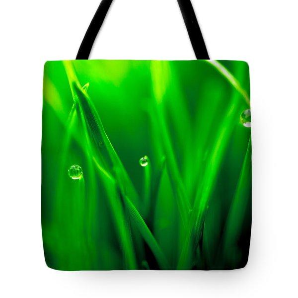 Macro Image Of Fresh Green Grass Tote Bag by John Williams
