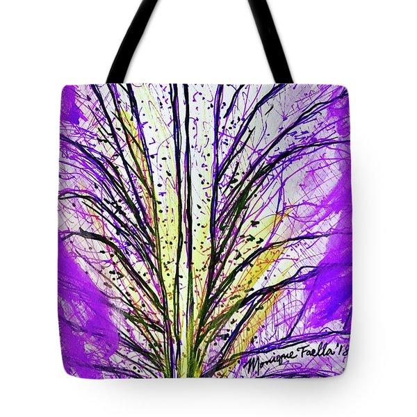 Tote Bag featuring the mixed media Macro Iris Petal by Monique Faella