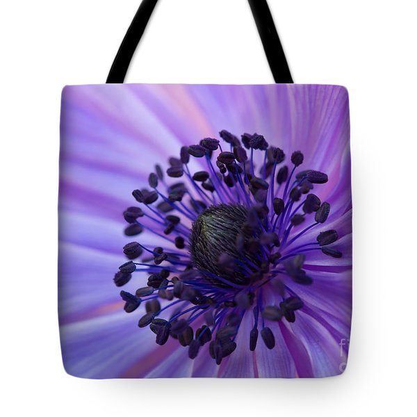 Macro Of Lavender Purple Anemone Tote Bag