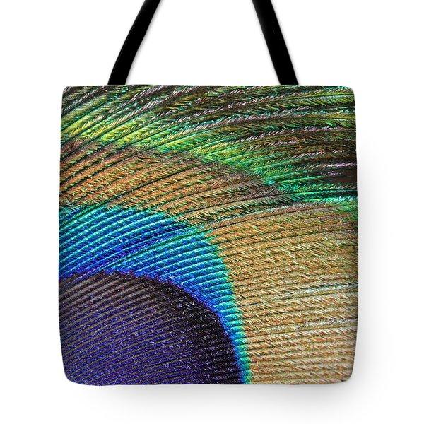 Macro Peacock Feather Tote Bag