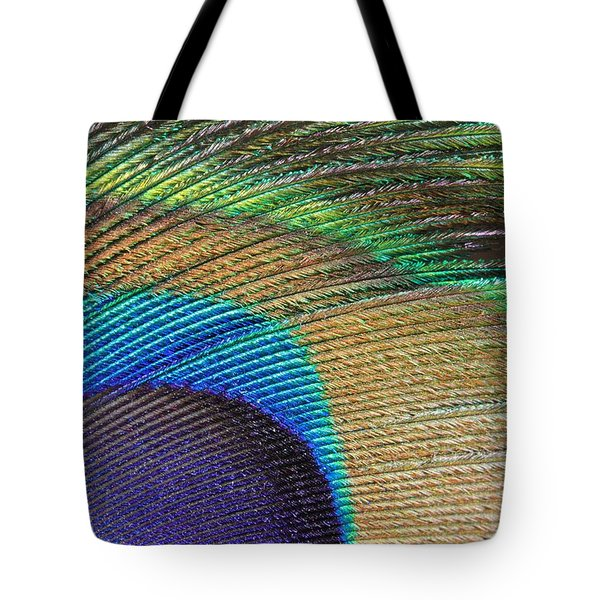 Macro Peacock Feather Tote Bag