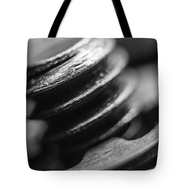 Tote Bag featuring the photograph Macro Screw Bolt Black White by David Haskett