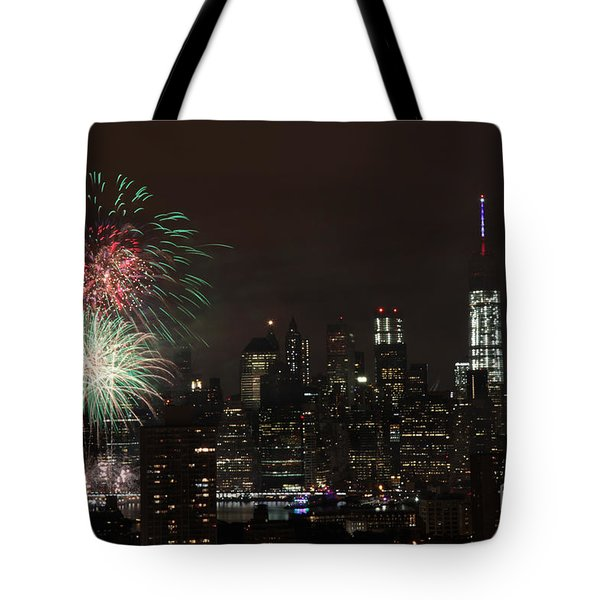 Tote Bag featuring the photograph Macy's July 4th 2015 Fireworks-1 by Steven Spak