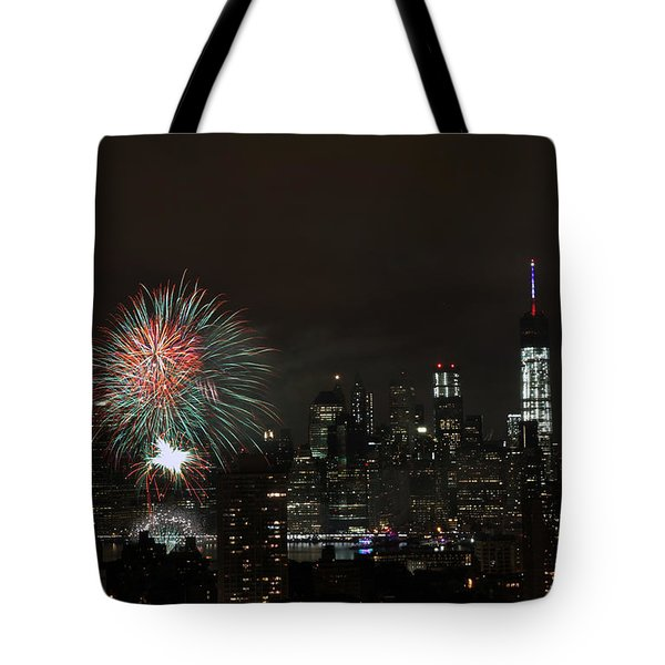 Tote Bag featuring the photograph Macy's-july 4th 2015-fireworks-3 by Steven Spak