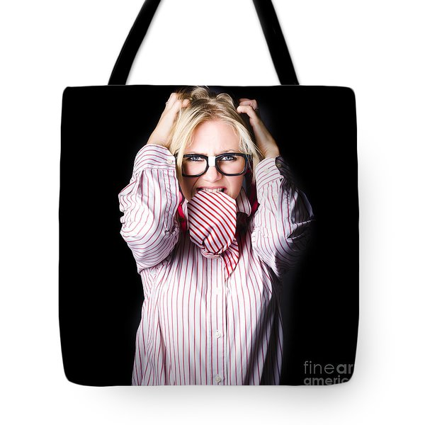 Mad And Angry Businesswoman Pulling Out Hair Tote Bag by Jorgo Photography - Wall Art Gallery