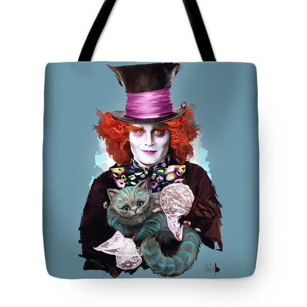 Mad Hatter And Cheshire Cat Tote Bag by Melanie D
