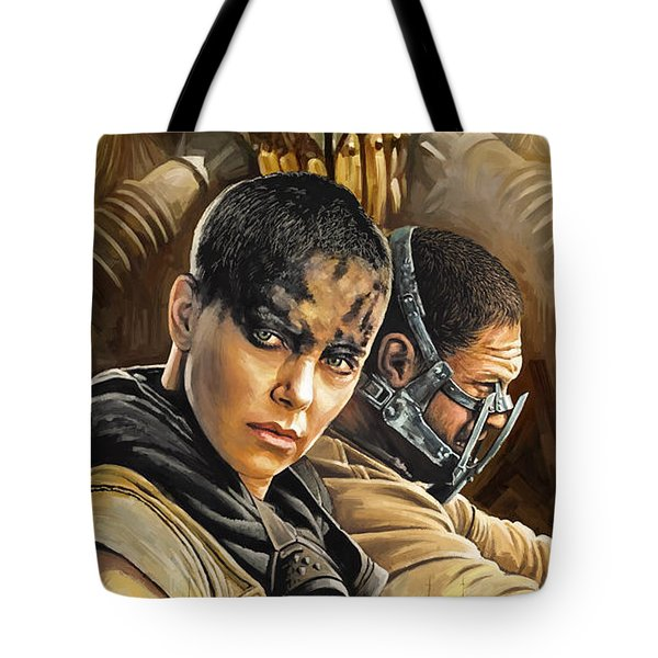 Tote Bag featuring the painting Mad Max Fury Road Artwork by Sheraz A