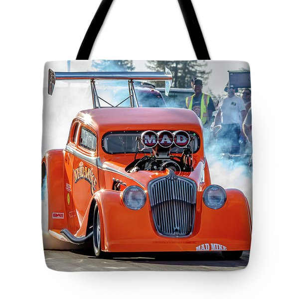 Tote Bag featuring the photograph Mad Mike Racing by Bill Gallagher