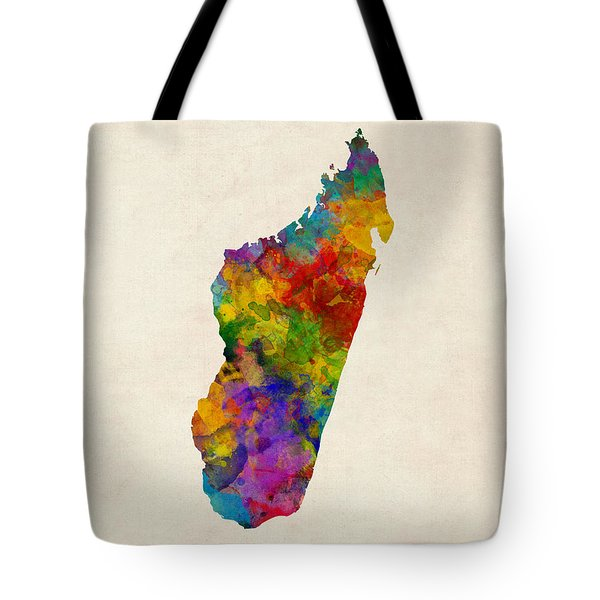 Tote Bag featuring the digital art Madagascar Watercolor Map by Michael Tompsett