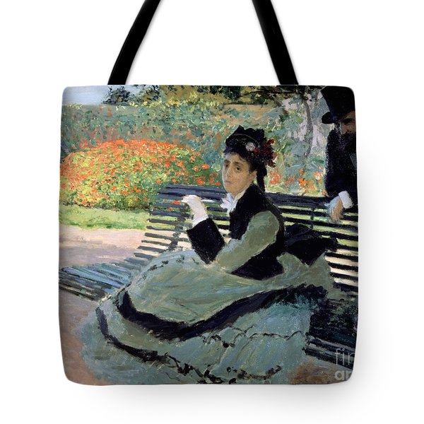 Madame Monet On A Garden Bench Tote Bag by Claude Monet