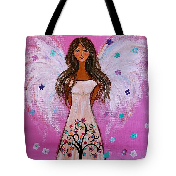 Tote Bag featuring the painting Pink Angel Of Life by Pristine Cartera Turkus