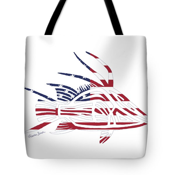 Made In The Usa Tribal Hogfish Tote Bag