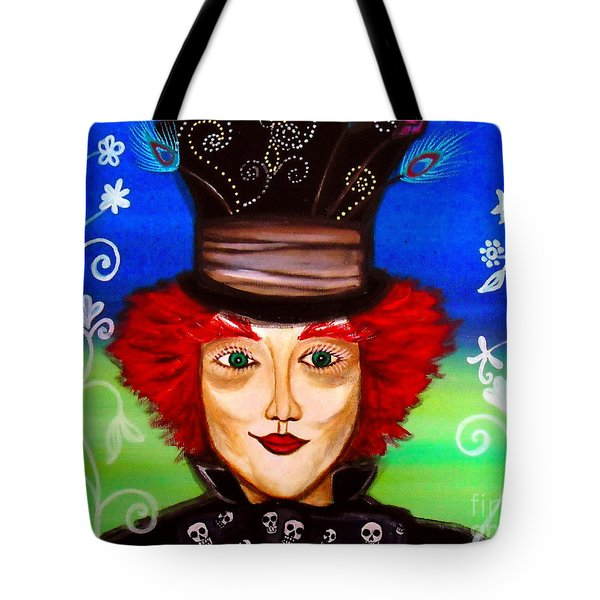 Tote Bag featuring the painting Madhatter by Pristine Cartera Turkus
