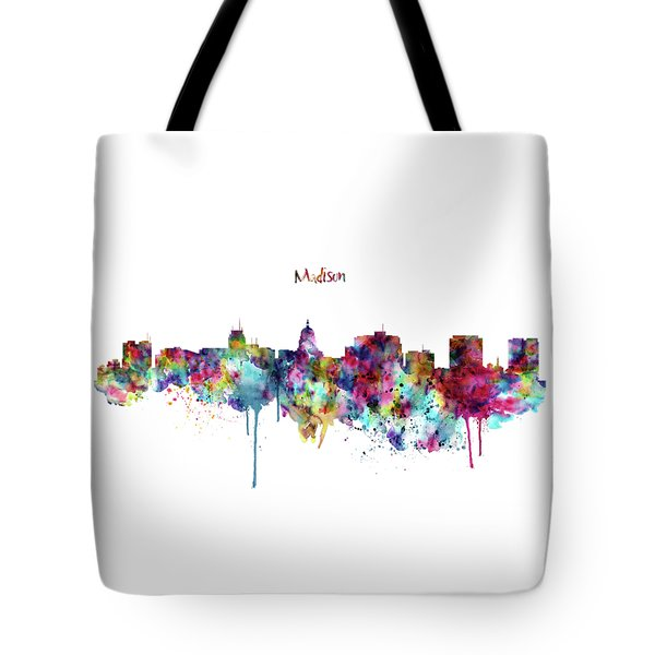 Tote Bag featuring the mixed media Madison Skyline Silhouette by Marian Voicu