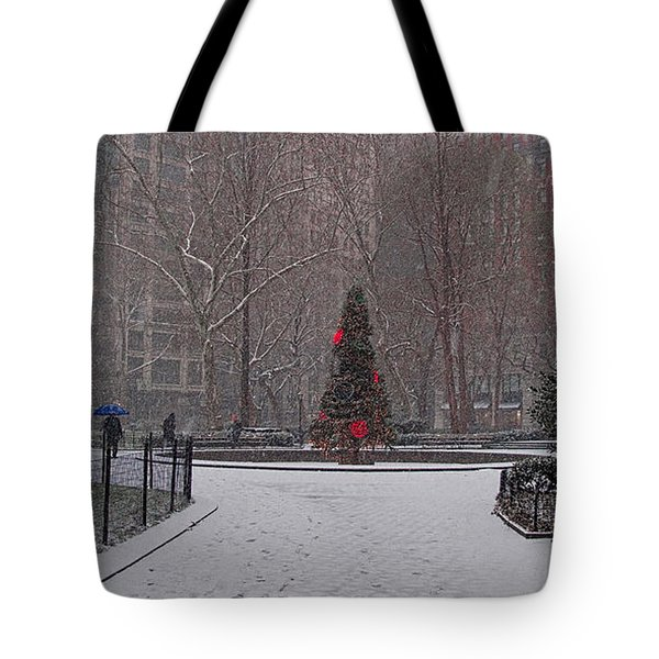 Madison Square Park In The Snow At Christmas Tote Bag by Chris Lord