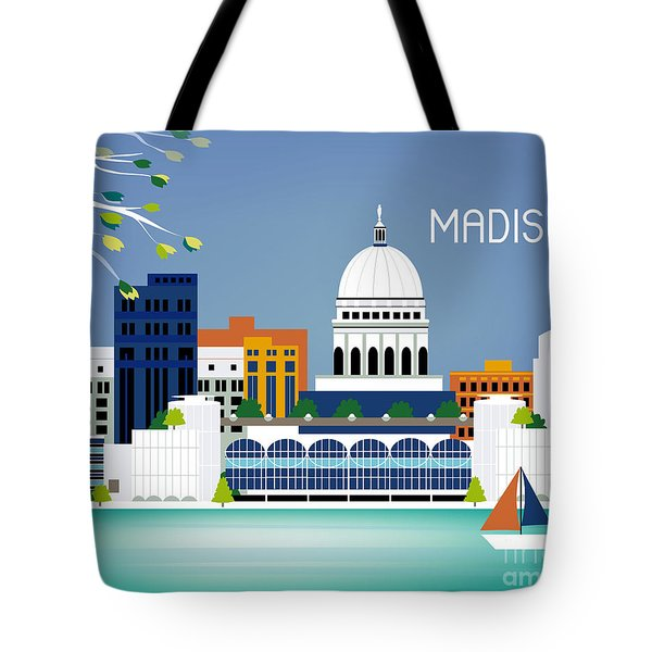 Madison Wisconsin Horizontal Skyline Tote Bag