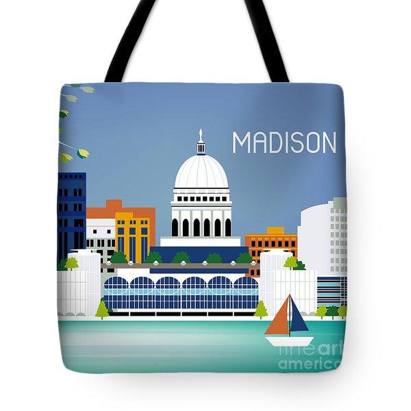 Madison Wisconsin Horizontal Skyline Tote Bag