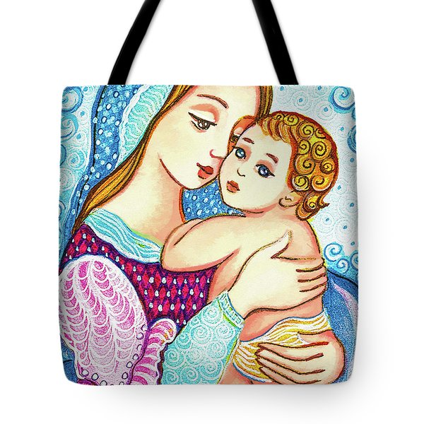 Tote Bag featuring the painting Madonna And Child In Blue by Eva Campbell