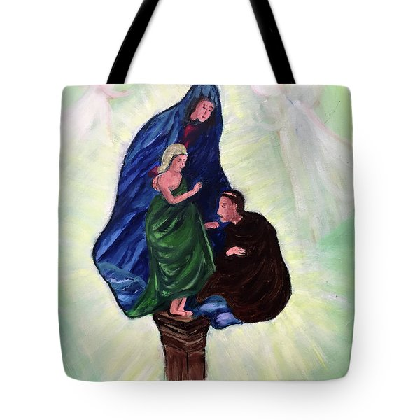 Madonna And Child With St Anthony Tote Bag