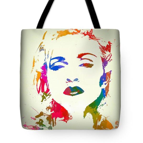 Madonna Color Paint Splatter Tote Bag