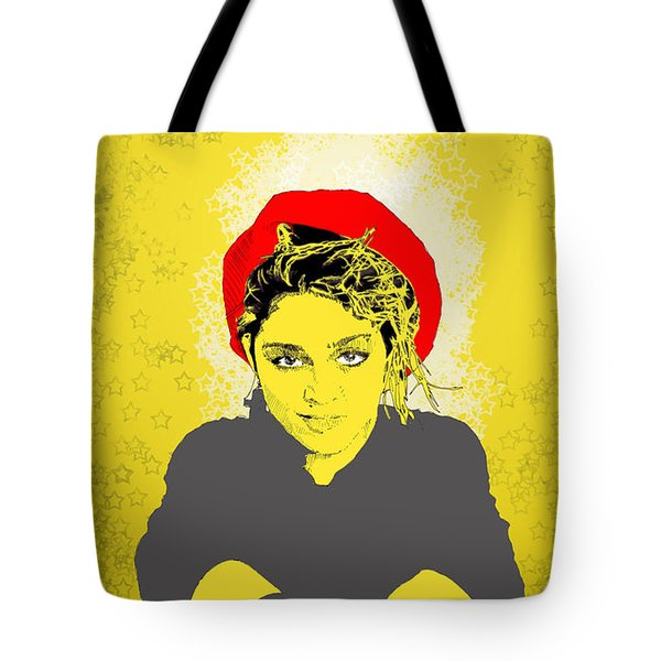 Madonna On Yellow Tote Bag by Jason Tricktop Matthews
