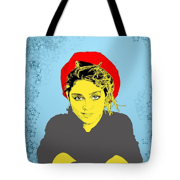 Tote Bag featuring the drawing Madonna On Blue by Jason Tricktop Matthews