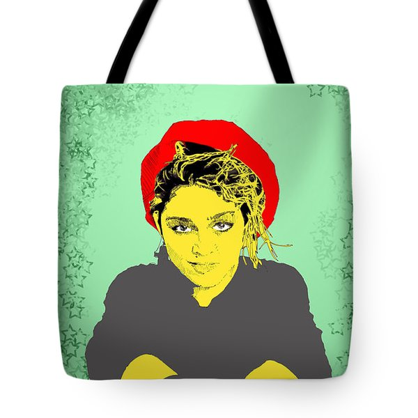 Tote Bag featuring the drawing Madonna On Green by Jason Tricktop Matthews