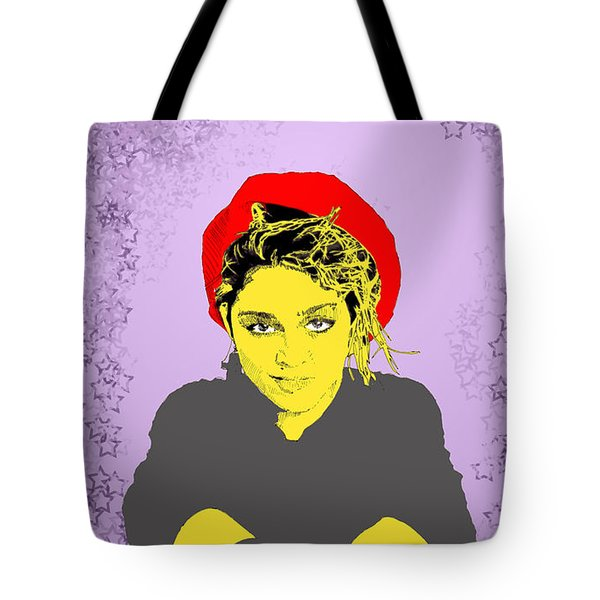 Tote Bag featuring the drawing Madonna On Purple by Jason Tricktop Matthews