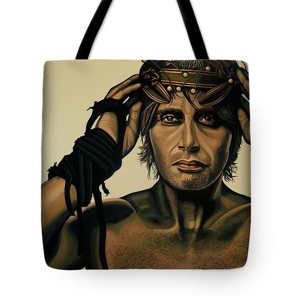 Mads Mikkelsen Painting Tote Bag by Paul Meijering