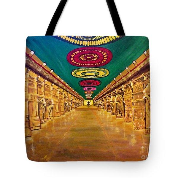 Madurai Meenakshi Temple Mandapam Tote Bag