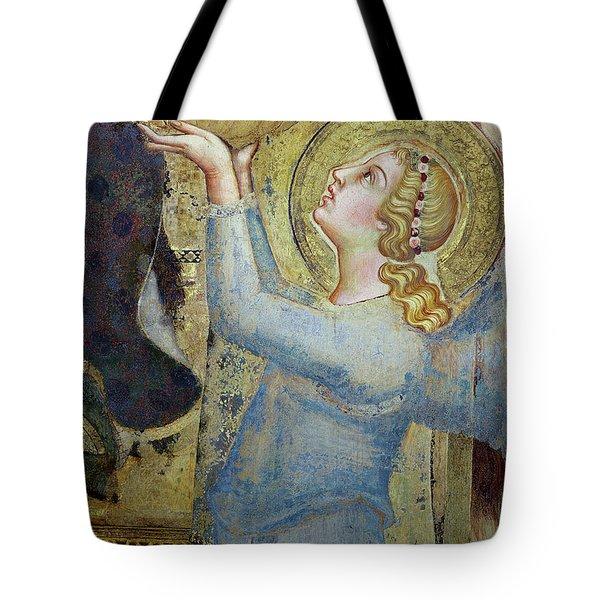 Maesta  Angel Offering Flowers To The Virgin Tote Bag