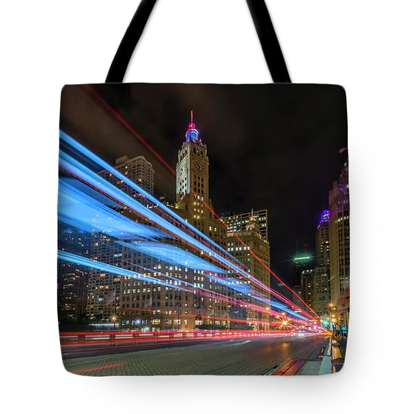 Tote Bag featuring the photograph Mag Mile Warp Speed by Sean Foster