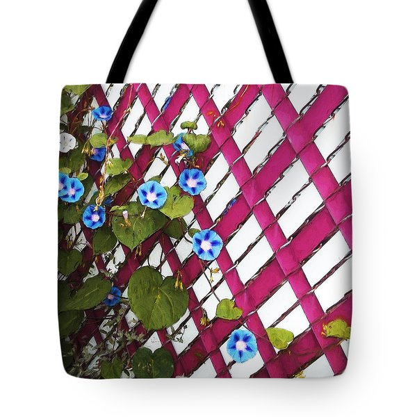 Tote Bag featuring the photograph Magenta Chain-link by Shawna Rowe