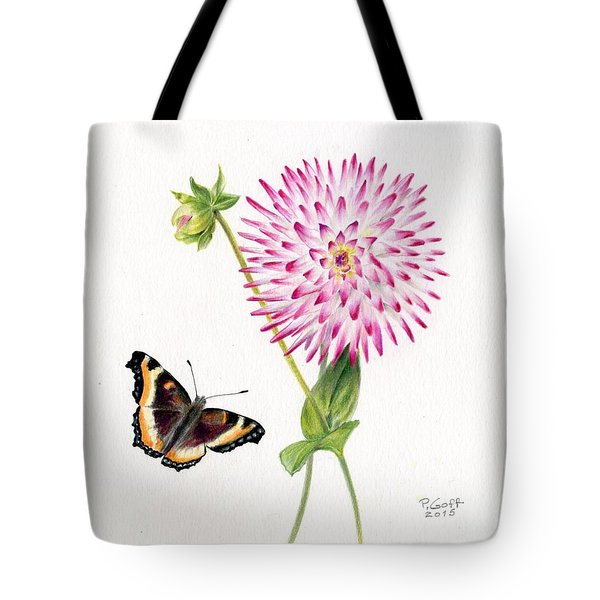 Magenta Dahlia With Butterfly Tote Bag
