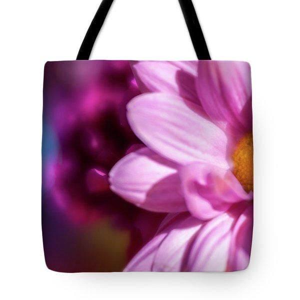 Magenta Floral On Blue Tote Bag