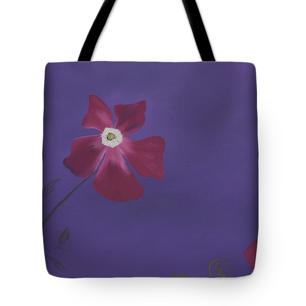 Magenta Flower On Plum Background Tote Bag