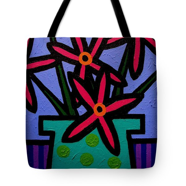 Magenta Flowers Tote Bag by John  Nolan