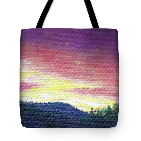 Tote Bag featuring the painting Magenta Sunset Oil Landscape by Judith Cheng